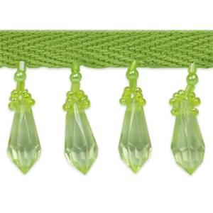 "IR1558 - BLM 1"" Diamond Cut Bead Fringe  BRIGHT LIME GREEN  10 yd"