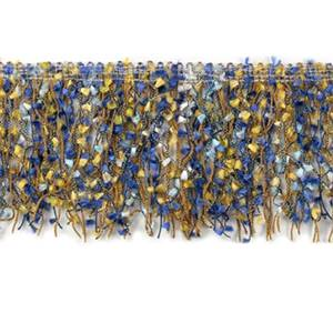 "IR3791 - B - 3"" Fiber Patch Cut Fringe - Blue, Gold - 10 YD REEL"