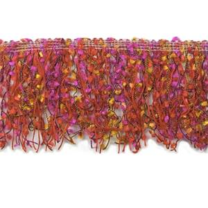 "IR3791 - D - 3"" Fiber Patch Cut Fringe - Fuchsia Multi - 10 YD REEL"