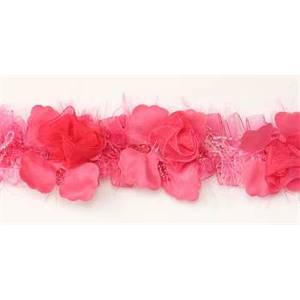 """LB5665 - BFS - 2 1/2"""" Organza Rose Flower Trim - FUCHSIA - 10 YD REEL"""