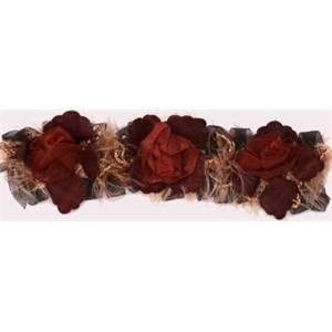 "LB5665 - BRG - 2 1/2"" Organza Rose Flower Trim - BURGUNDY - 10 YD REEL"