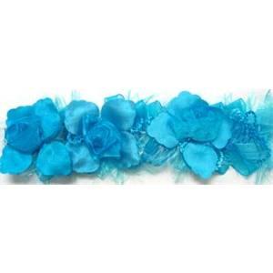 "LB5665 BTR 2 1/2"" Organza Rose Flower Trim Turquoise 10 YD REEL"