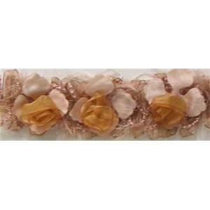 """LB5665 - CRM - 2 1/2"""" Organza Rose Flower Trim - CREAM - 10 YD REEL"""