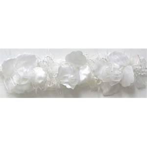 "LB5665 - WH - 2 1/2"" Organza Rose Flower Trim - WHITE - 10 YD REEL"