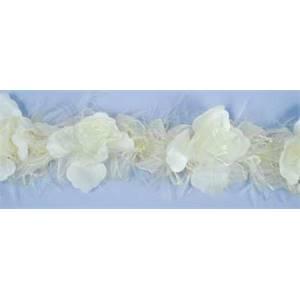 """LB5665 - IV - 2 1/2"""" Organza Rose Flower Trim - IVORY - 10 YD REEL"""