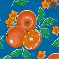 Blue Fruit Oranges Oilcloth 12 Yard Bolt