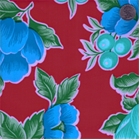 Red Floral #2 Oilcloth 12 Yard Bolt
