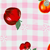 Pink Check & Fruit Oilcloth 12 Yard Bolt