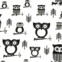 Hooty Black Premier Prints - Drapery Fabric