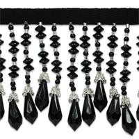 """IR1988BK 2 1/2"""" Disk & Diamond Bead Fringe Black/Silver 10 YARDS (two 5-yard reels)"""