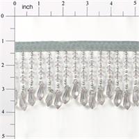 "IR1988GY 2 1/2"" Disk & Diamond Bead Fringe Gray 10 YARDS (two 5-yard reels)"