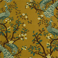 Vintage Plumes Camel Floral Printed Drapery Fabric by DwellStudio for Robert Allen