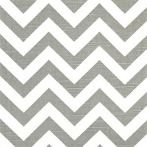 Zig Zag Ash White Slub Stripe Premier Print Drapery Fabric