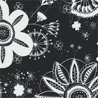 Flower Power - Black Indoor/Outdoor Fabric 30 yard bolt