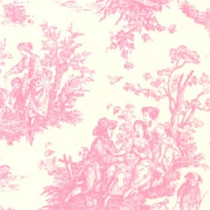 Pink toile fabric pink toile curtains for Upholstery fabric children