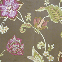 Bentley Brown Large Floral Drapery Fabric