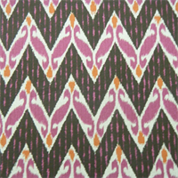 Zig Zag Raspberry Linen Contemporary Drapery Fabric