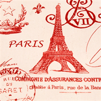 French Stamp Primary Red/Natural by Premier Prints - Drapery Fabric