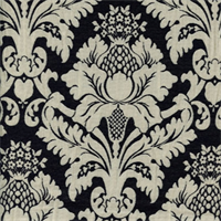 Bohemian Black Floral Drapery Fabric