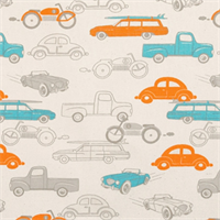 Retro Rides Mandarin/Natural by Premier Prints - Drapery Fabric