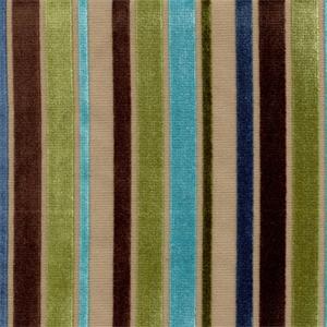 Ribbon Turquoise Striped Velvet Upholstery Fabric 29353