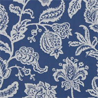 Jacobean Toss Indigo Floral Fabric by Robert Allen