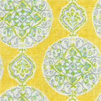 Mirage Medallion Citrus Yellow Contemporary Linen Look Fabric by Dena Designs