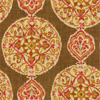 Mirage Medallion Gypsy Contemporary Chocolate  Linen Look Fabric by Dena Designs