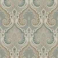 Latika Seafoam Paisley Linen Drapery Fabric