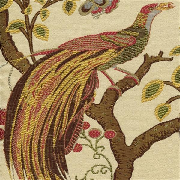 Grand Phoenix Multi Jacquard Floral Bird Upholstery Fabric
