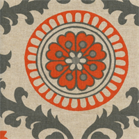 Rosa Tabby Orange/Linen by Premier Prints - Drapery Fabric