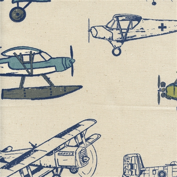 Vintage air felix natural by premier prints designer for Airplane fabric by the yard