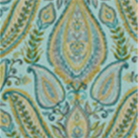 Ombre Paisley Pool Cotton Floral Drapery Fabric by Robert Allen