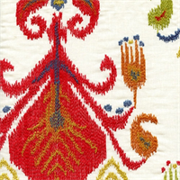 Sumatra Festival Contemporary Ikat Embroidered Drapery Fabric