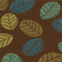 Retro Leaf Chocolate Woven Embroidered Look Leaf Design Upholstery Fabric