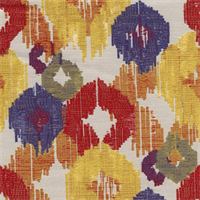 Covey Primary Woven Ikat Embroidered Look Design Upholstery Fabric