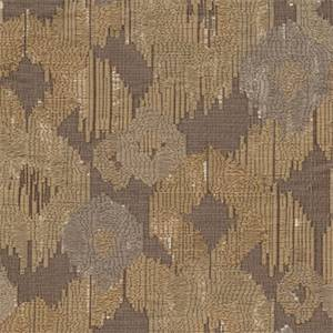 Covey Taupe Woven Ikat Embroidered Look Design Upholstery Fabric