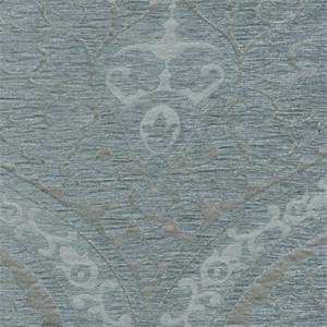 Evita Ice Solid Cut Chenille Damask Design Upholstery Fabric