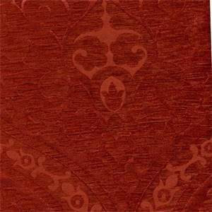 Evita Copper Solid Cut Chenille Damask Design Upholstery Fabric