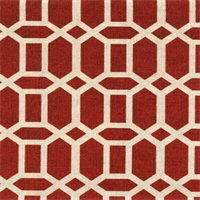 Tile Work Brick Red Geo Print Indoor/Outdoor Fabric