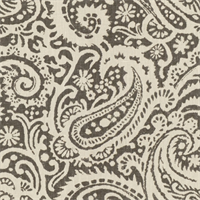 Paisley Grey Linen Drapery Fabric by Famous Maker