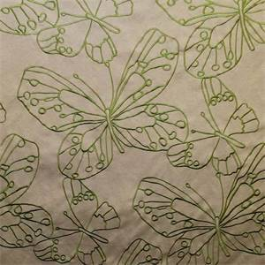 Cleo Butterfly Grass Green Embroidered Drapery Fabric by Richloom