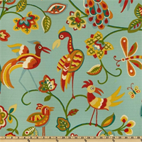 Jungle Jam Aqua Drapery Fabric by Swavelle Mill Creek