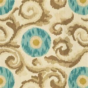 Ikat Print Talish Pool Blue Linen Drapery Fabric By Famous Maker