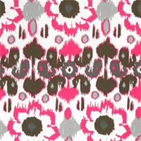 Rio Preppy Pink Floral Ikat Indoor/Outdoor Print by Premier Prints