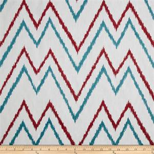 Levi #73 Red/Blue 73033-23 Flamestitch Ikat Look Chevron Stripe by Duralee