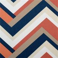 Concorde Melon Orange and Blue Geometric Cotton Drapery Fabric By Duralee