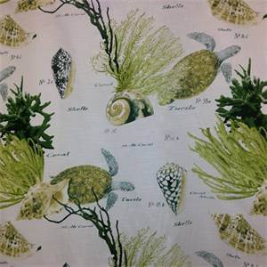 Corales 82 Green 02 Aquatic Design Cotton Drapery Fabric