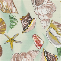 Sea Shells Green Indoor/Outdoor Fabric