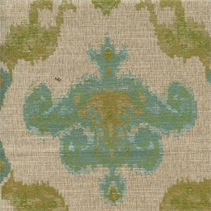Chandelier Aquamarine Woven Ikat Floral Upholstery Fabric
